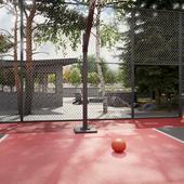 Ландшафтный дизайн, спортивная площадка, кострище, навес, бассейн.