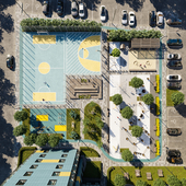 Визуализация двора жилого комплекса на ул.Батальная г.Калининград