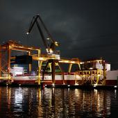 Night loading lights in  seaport