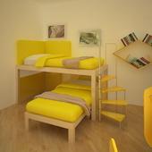 Кровать, книжный шкаф, полки