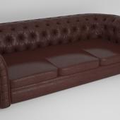 Английский кожаный стеганый диван