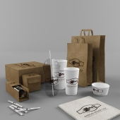 Paper bags and cups and packaging for Cafe