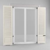 Doors with triple window shutters