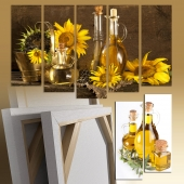 Triptych, oil sunflowers
