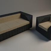 Sofa and armchair Alexander Rose