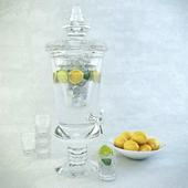 Set: Carafe with lemonade, glasses, plate with lemons