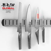 Global knife set + magnetic knife rack