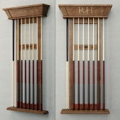 RH/ BRUNSWICK VINTAGE 1906 BILLIARDS TABLE CUE RACK
