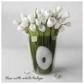 Vase with white tulips