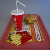 Big Mac, fries, cola, fast food