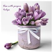 Vase with perpur tulips