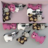 Игрушки - подушки, хрюшка, овечка, бычок