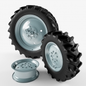 The wheels of the tractor