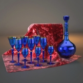 Set of glasses with a carafe