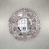 Aztec Hollywood Regency Gold Leaf Circular Pattern Wall Mirror
