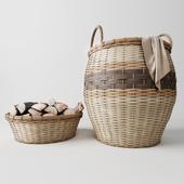 Laundry basket, basket with wood