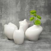 Set of 4 vases (Vita Vases) with chrysanthemums