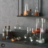 A set of glass vases and decanters Decanters set