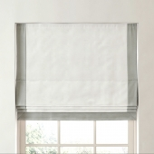 RH / BORDERED COTTON CANVAS CORDLESS ROMAN SHADE