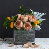 Bouquet of Austin's Roses, Kumquat and Dusty Miller plant