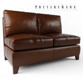 Pottery Barn - Cameron Leather Armless Love Seat