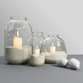 Декор свечи в банке с песком
