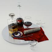 Набор с графином для виски и коньяка на большом блюде - Set whiskey and cognac decanter on dish