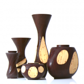 A set of vases made of wood