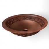 "17 ""Round Floral Sink In Artisan Hammered Copper"
