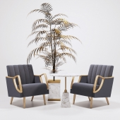 Horta Fauteuil Armchairs golden tree and table Arteriors