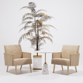 Jasper Armchairs golden palm IVETE and table Arteriors