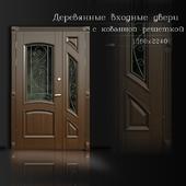 Дверь деревянная с ковкой
