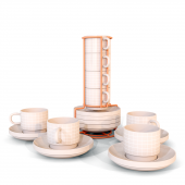 Set of 4 cups with saucers Grid