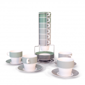 Set of 6 cups with saucers Ombre