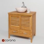 Sink made of natural marble Teak House Round White, Black, Onyx, cupboard under the sink Lombok 110 mixer Lemark LM2504C