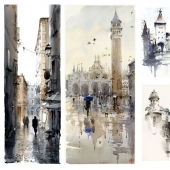 Texture watercolor paintings in gray-beige tones.
