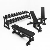 TECHNOGYM. PURE STRENGTH - ADJUSTABLE BENCH; FREE WEIGHTS - DUMBBELLS