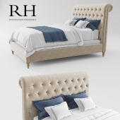 RH Chesterfield Fabric Sleigh Bed