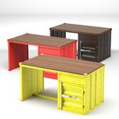 3 color container desk