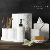 A set of accessories for the bathroom Rattan
