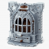 Antique Fireplace Lent Moyen Vif Salamandre