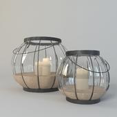 Bubble caged glass lantern