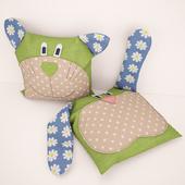bunny pillow and teddy bear