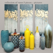 collection of vases 9 pieces + pictures