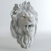 Plaster head of a lion