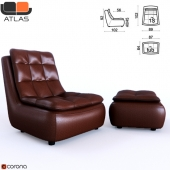 ATLAS City armchair and pouf