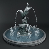 Fountain with dolphins