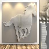 Лошадь - панно, выполненное  при помощи металлических штырей.