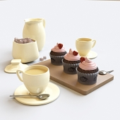 Strawberry cupcakes set