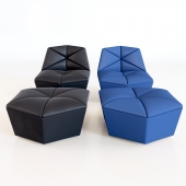 Armchair with pouf round Alberta Salotti Gossip